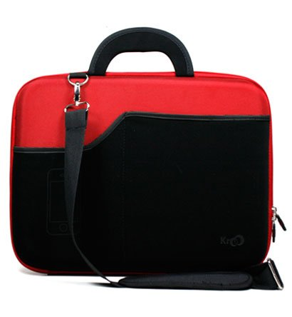 Asus 15.6 inch Notebook Laptop PRO P53E-XH51 Dark Red Hard Nylon Case with Black Neoprene Outside Pocket for Cellphone and Accessories