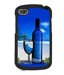 printtech Beach Drink Bottle Wine Back Case Cover for BlackBerry Q10