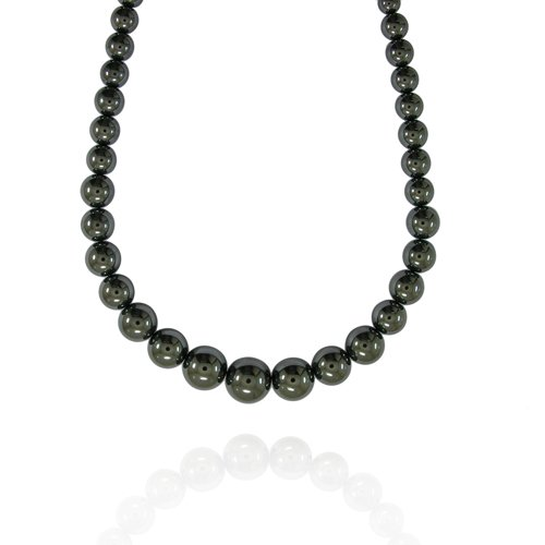 6-16mm Round Hematite Graduated Bead Necklace, 22+2