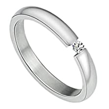 buy Women'S Promising Rings Jewelry Stainless Steel Thin Wedding Bands Embedded Cz White Size 8
