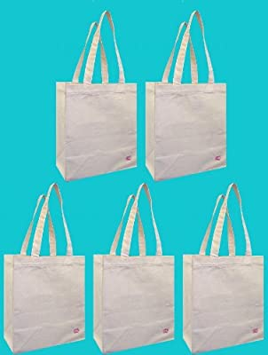 100% Cotton Canvas Oversized Grocery/Multipurpose Tote Bag 5 Pack, Shoulder Length With Extra Strong Cotton Webbing Handles by Duratech Group