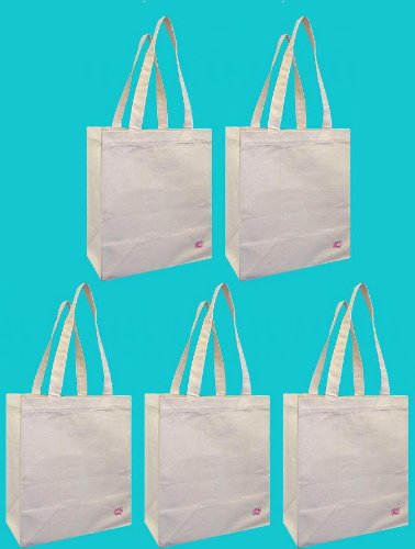100% Cotton Canvas Oversized Grocery/Multipurpose Tote Bag 5 Pack, Shoulder Length With Extra Strong Cotton Webbing Handles