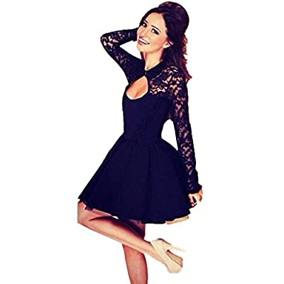 Ayliss® Sexy Lace Cutout Backless Long Sleeve A-line Bodycon Mini Dress