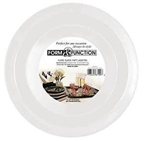 Creative Converting Form and Function Round Plastic Plate, White, 10.25 Inch, 8 Count (Pack of 2)
