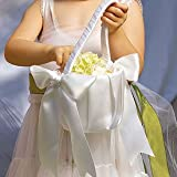 Weddingstar 8823-08 Flower Girl Basket with Classic Double Faced Satin Ribbon Bows- White