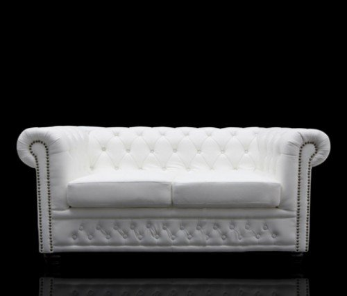 Sofa FineBuy Chesterfield 2-Sitzer Nietenbesatz 150 cm Kunstleder Weiß Matt