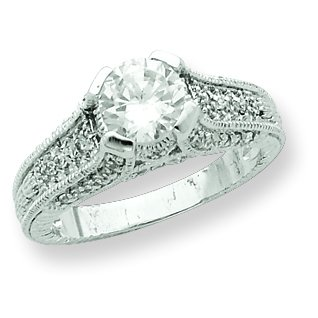 Sterling Silver Clear CZ Engagement Ring. Metal Weight- 5.59g.