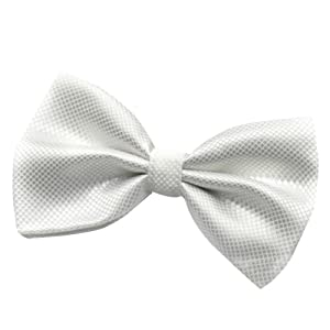 Hee Grand Men's Pre-Tied Bow Tie White with Lines