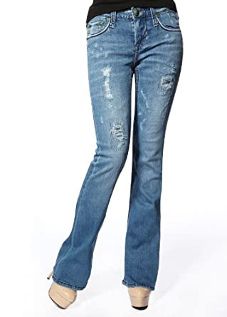 Stitch's Womens Boot Cut Jeans Ripped Holes Denim Pants 32