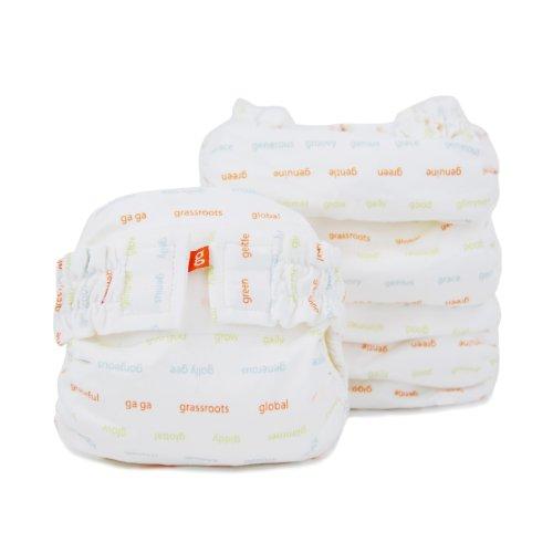 Gdiapers Gpants Hybrid Cloth Diapers - Hook & Loop - White - Newborn - 6 Pk front-644511