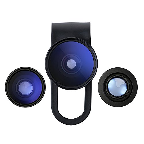 VicTsing 3 in 1 Clip-On 180 Degree Supreme Fisheye II +0.65x Wide Angle II + Macro Lens Camera Photo Kit For Apple iPhone Samsung and Android Devices-Black