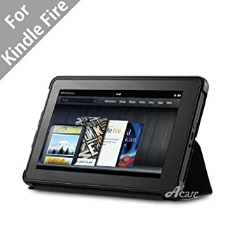 """Acase Deluxe Lightweight MicroShell Case Folio with built-in Stand for Kindle Fire Full Color 7"""" Multi-touch Display, Wifi (Black)"""