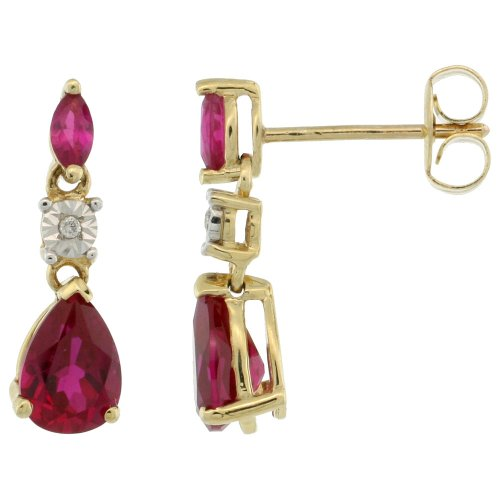 Revoni 9ct Gold Stone Dangle Earrings w/ Illusion Set Brilliant Cut Diamonds, Marquise & Pear Cut (7x5mm) Lab Created Ruby Stones, 5/8 in. (16mm) tall