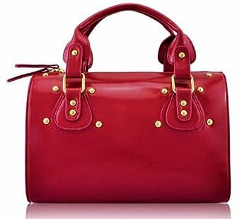 Ladies Designer Red Studded Barrel Tote Vintage Handbag KCMODE