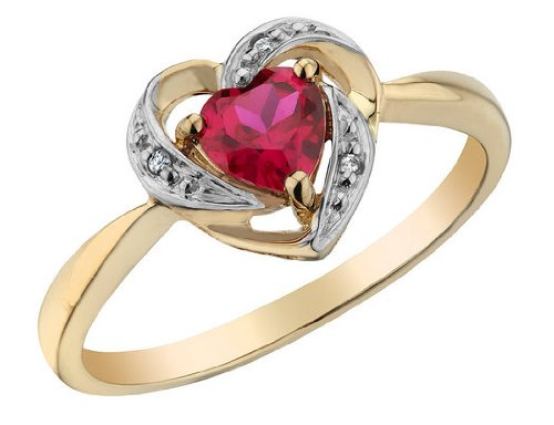 Created Ruby Heart Ring with Diamonds 1/3 Carat (ctw) in 10K Yellow Gold, Size 8
