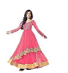STYLE IN'S Designer Women Net Anarkali Dress Material (Riya Sen Pink _Pink _Free Size)