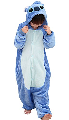 """Tonwhar Kids Stitch Kigurumi Pajamas Children'S Unisex Cosplay Costume Onesie (125(Height:53.14""""-57""""), Blue Stitch) front-182490"""