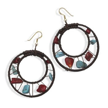 Brown Dreamcatcher Style Round Crochet Earrings with Turquoise and Coral Chips