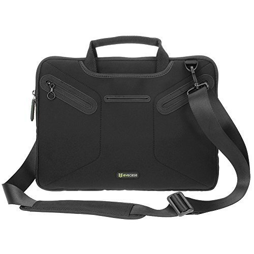 07. Laptop Messenger Bag Evecase 12.5 - 13.3 inch Notebook Multi-functional Neoprene Case with Handle and Carrying Strap - Black