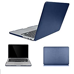 BeneU Multi colors Leather Soft-Touch Hard Case Cover for MacBook Pro Retina (MacBook 13'' Pro with Retina A1425/A1502, Dark Blue)
