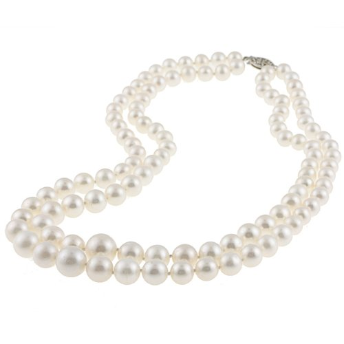 White Freshwater Pearl Graduated 2-row Necklace (6-11 mm)