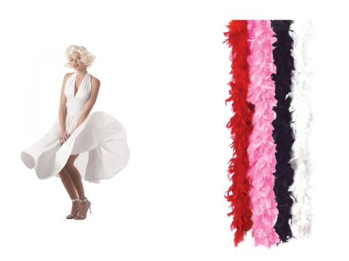 Marilyn Costume Dress and WHITE Feather Boa too!