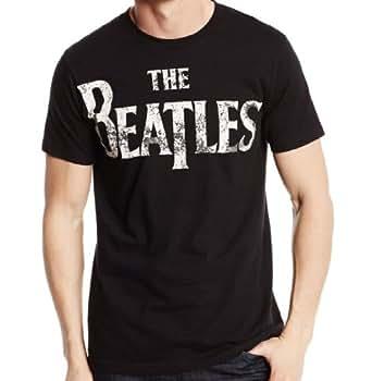 Beatles Basic Logo Distressed Black T Shirt