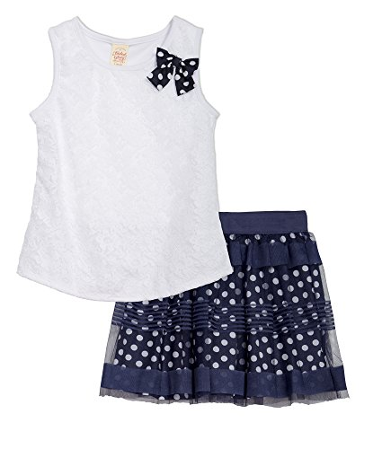 (FG26S706) Faded Glory Big Girls 2 Piece Print Challis Tiered Skirt Set in White Size: 7/8 (Faded Glory Tops compare prices)