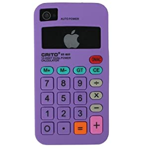 Calculator Silicone Case for Apple Iphone 4/iphone 4s Purple