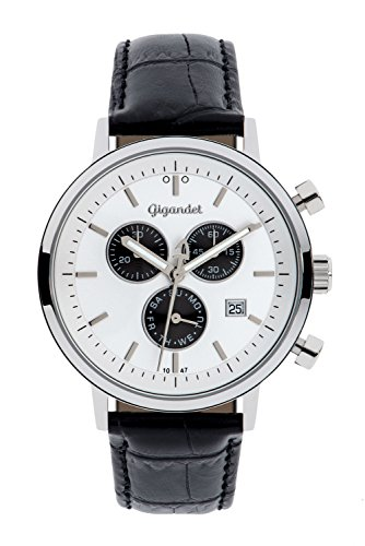 Gigandet CLASSICO Men's Chronograph watch - Analogue quartz - Water resistant 50m/5bar - Silver/Black dial - Date display - Black genuine leather strap - G6-002