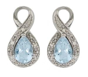 Carissima 9ct White Gold 0.05ct Diamond and Aquamarine Stud Earrings