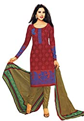 Salwar Studio Womens Cotton Unstitched Salwar Suit Dress Material (Sp-221 _Red, Purple & Mehendi Green _Free Size)