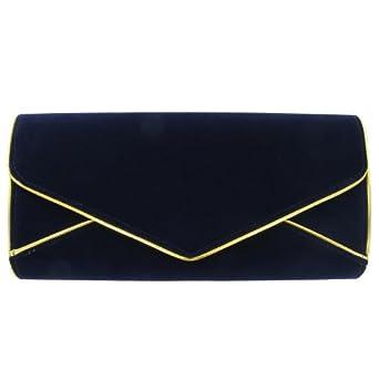 Girly HandBags Frauen Marinenblau Abend FauxveloursKunstleder goldenen Zierstreifen Damen Hartschalenkoffer Umschlag Clutch Bag Unterarmtasche -- Blau