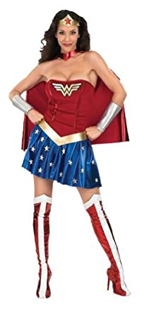 Secret Wishes DC Comics Deluxe Wonder Woman Adult Costume, Small (2-6)