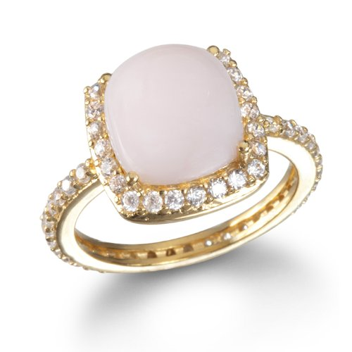 Cushion Pink Peruvian Opal Cabochon Ring in GP