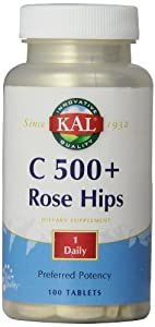 KAL C-500 with Rose Hips Tablets, 500 mg, 100 Count