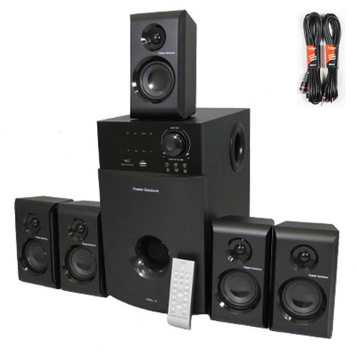 Theater Solutions 5.1 Home Theater Speaker System With Tuner And Two 25' Extension Cables Ts514-2