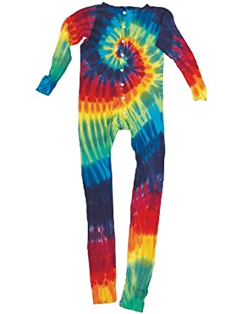 Retro Tie Dye Thermal Unionsuit Underwear Long Johns Lounge Wear