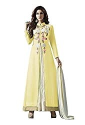 VIHA Yellow Women's Embroidered Georgette Unstitched Dress Material