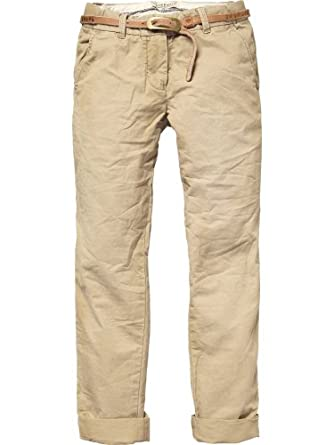 Scotch R'Belle Mädchen Hose/ Lang chino pant solid colours + studded belt - 11540780400, Gr. 152 (12), Braun (73 - tabacco)