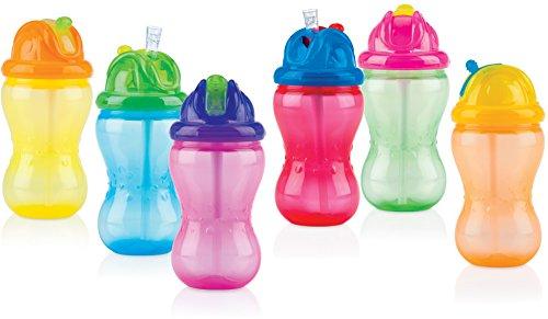 Nûby 9801 auslaufsichere Trinkhalmflasche 355ml, mit weichem Trinkhalm aus Silikon und hygienischem Trinkhalmverschluss, 1 Stück, Farbe nicht frei wählbar