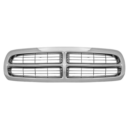 CarPartsDepot, Front Grille Chrome Frame Black Bar Insert Grill Assembly Replacement, 400-17617 CH1200199 55056092 (1998 Dodge Dakota Grill compare prices)