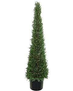 One 4 Foot Artificial Cypress Tower Topiary Tree Plant Decor Potted