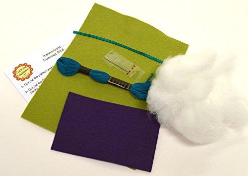 Corinne Lapierre Feutre brillant Craft Mini Kit de couture pour oiseaux Vert prairie