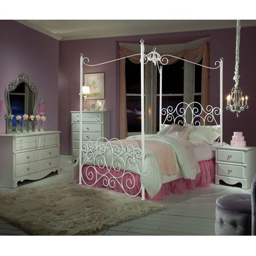 Standard Furniture Princess 5 Piece Kids' Canopy Bedroom Set In White Metal
