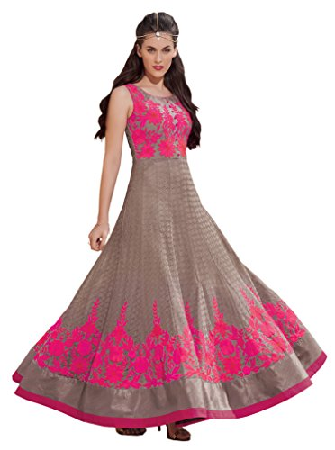 Heart & Soul Designer Wedding & Party Wear Fully Stitched Embroidery Designer Salwar Suits Dupatta L size for women(Brown)