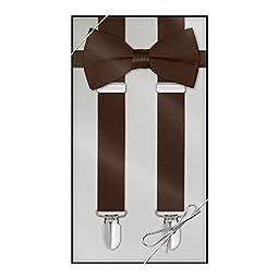 Suspender & Bow Tie Set (Kids, Chocolate Brown)