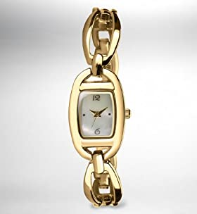 Gold Plated Curved Loop Bangle Watch