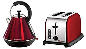 SQPRO 1.8L Traditional Kettle and 2 Slice Toaster in Ruby Red by SQ Professional