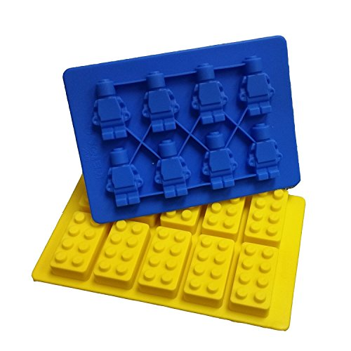 Building Bricks and Minifigure Ice Cube Tray or Candy Chocolate Crayon Mold --For Lego Lovers